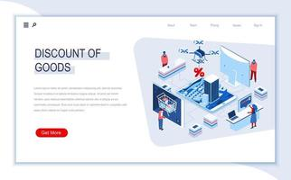 Discount of goods isometric landing page