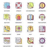 ayuda y apoyo conjunto de iconos planos. vector