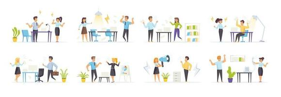 Quarrel at work set with angry people characters vector