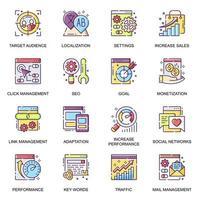 SEO flat icons set. vector