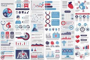 Bundle medical infographic elements vector
