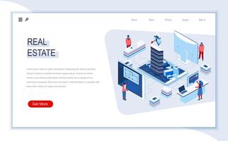 Real estate agency isometric landing page vector