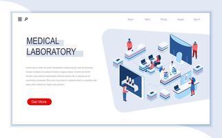 página de inicio isométrica de laboratorio médico