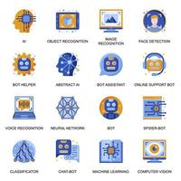 Artificial intelligence icons set in flat style.