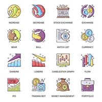Stock quotes flat icons set.
