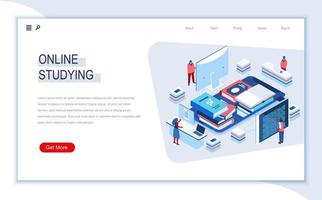 Online studying isometric landing page vector