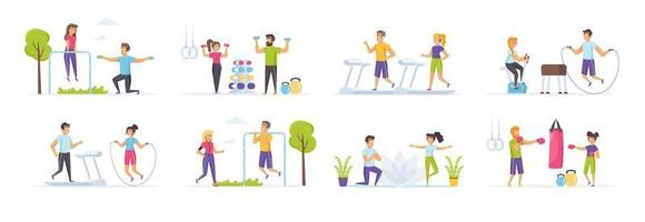 Fitness workout set with people characters