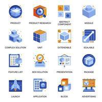iconos de marca de productos establecidos en estilo plano. vector