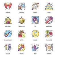 Party entertainment flat icons set. vector