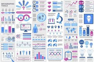 paquete de elementos de infografía médica vector