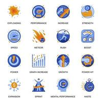 Mental performance icons set in flat style. vector