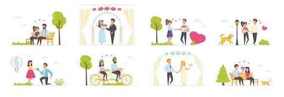 Couple in love set with people characters vector