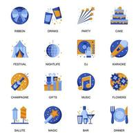 Party icons set in flat style.