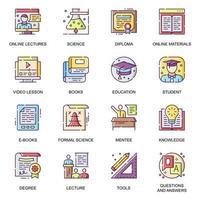 Modern education flat icons set. vector