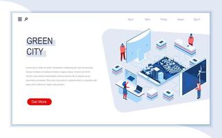 Green city isometric landing page vector