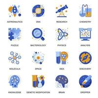 Science research icons set in flat style. vector