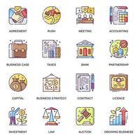 conjunto de iconos planos de desarrollo empresarial. vector