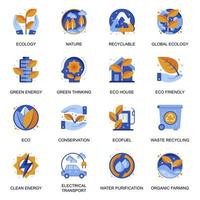 Ecology icons set in flat style. vector