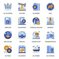 Oil industry icons set in flat style. vector