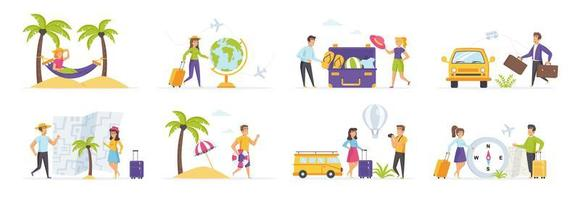 Summer holidays set with people characters