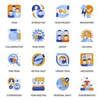 Teamwork icons set in flat style. vector