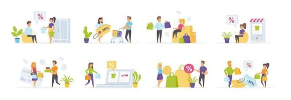 Seasonal shopping set with people characters vector