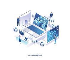 navegación gps, diseño isométrico de búsqueda de ubicación vector