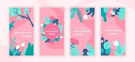 Spring plants social media stories vector