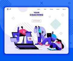 Coaching landing page template vector