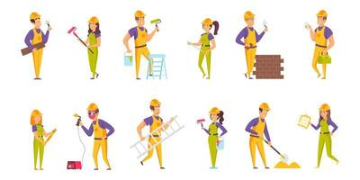 Builders flat set vector