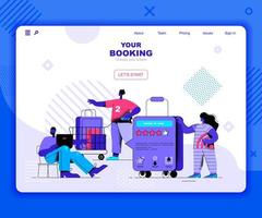 Booking landing page template vector