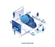 Cloud computing service isometric landing page vector