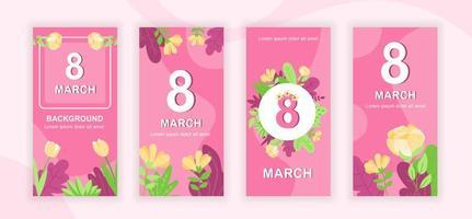 8 de marzo diseño de historias de redes sociales. vector