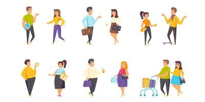 Different sized people flat set vector