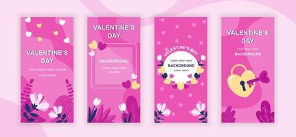 Saint Valentines Day social media stories vector