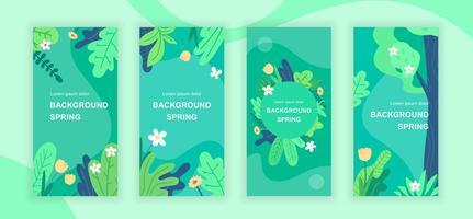 Spring abstract social media stories vector