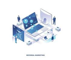 Referral marketing program isometric design