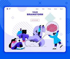 Brainstorming landing page template vector