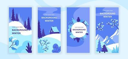 Winter landscape social media stories vector