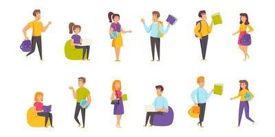 estudiantes, conjunto plano de estudiantes vector