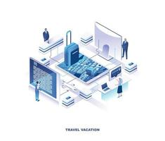 Touristic service for travel planning isometric design