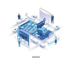 Isometric design for travel booking and search online service