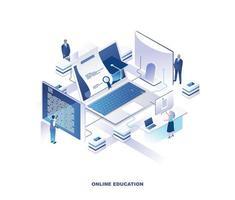 Online education isometric design vector