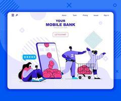 plantilla de página de destino de banca móvil vector