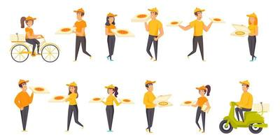 Pizza delivery flat set vector