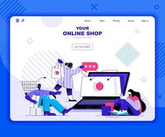 Online shopping landing page template vector