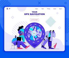 GPS navigation landing page template vector