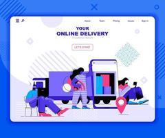 plantilla de página de destino de entrega en línea vector