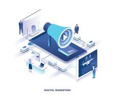 Social media marketing or SMM isometric design