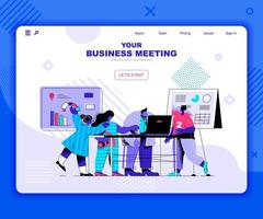 plantilla de página de destino de reunión de negocios vector